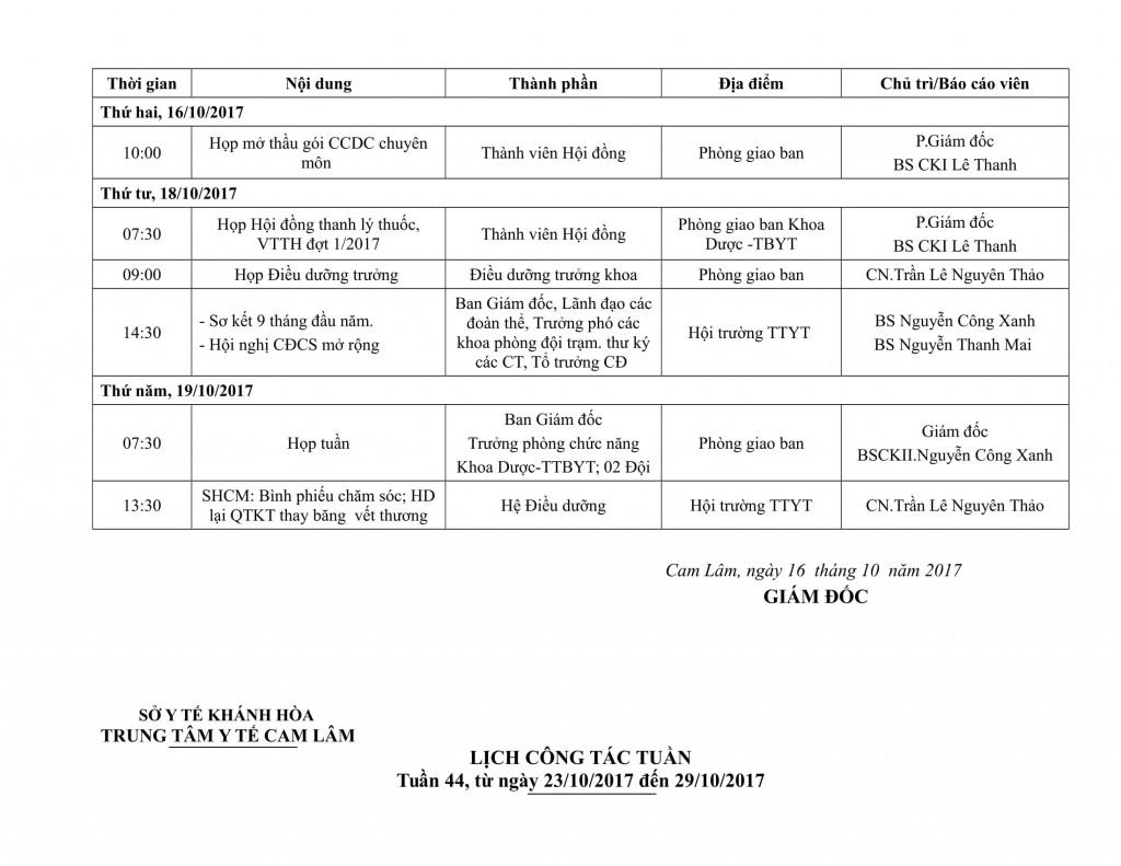Lịch công tác tuần QIV-2017-03