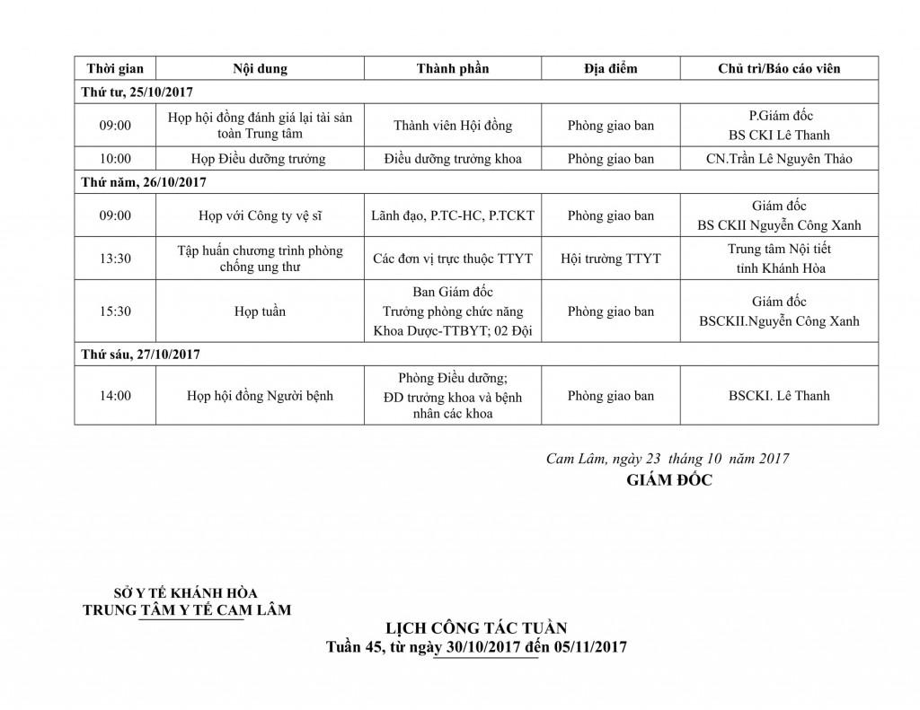 Lịch công tác tuần QIV-2017-04